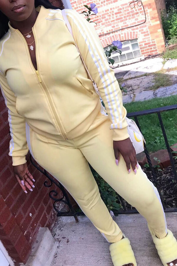 Lovely Casual Striped Light Yellow Two Piece Pants Set