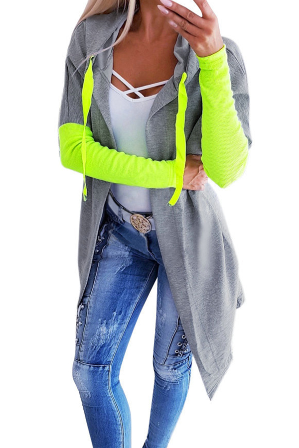 Lovely Casual Patchwork Green Coat