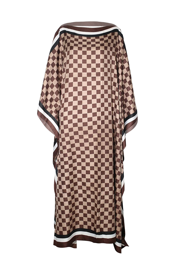 Lovely Casual Printed Brown Ankle Length Plus Size Dress