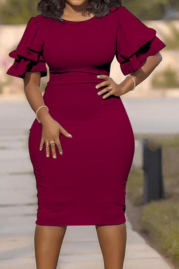 Lovely Casual O Neck Ruffle Wine Red Knee Length Plus Size Dress