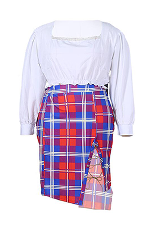 Lovely Casual Drawstring Red Plus Size Two-piece Skirt Set