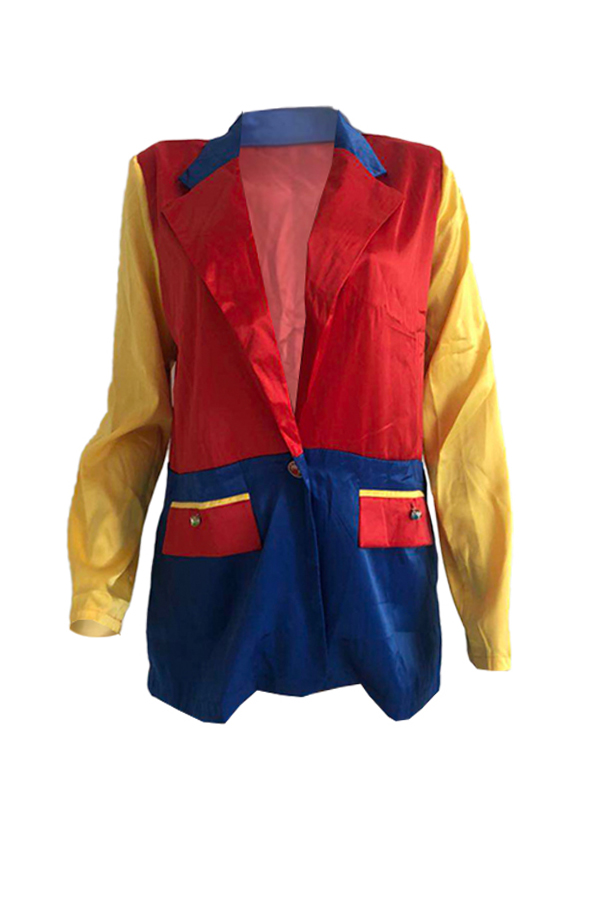 Lovely Casual Patchwork Red Coat
