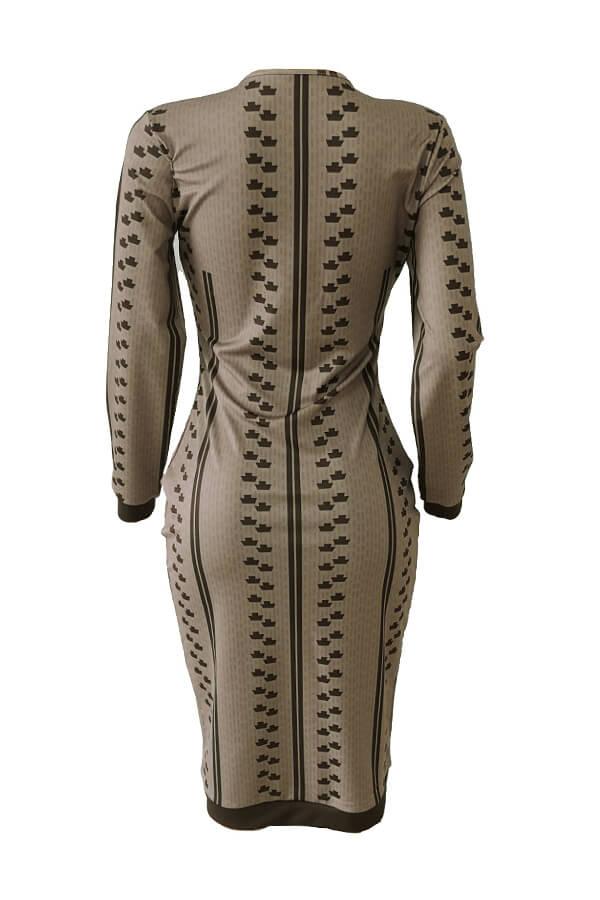 Lovely Casual Printed Skinny Khaki Knee Length Dress