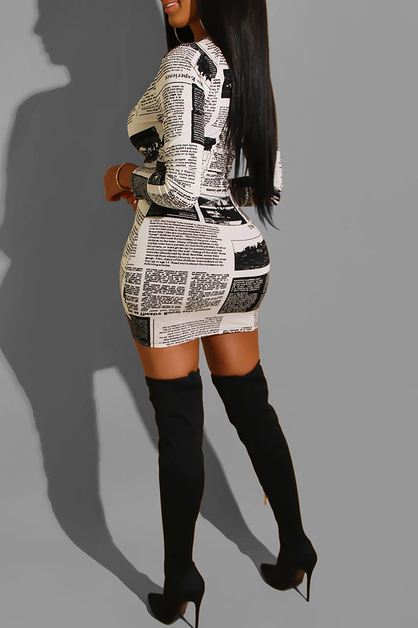 Lovely Casual Letter Printed Black And White Mini Dress