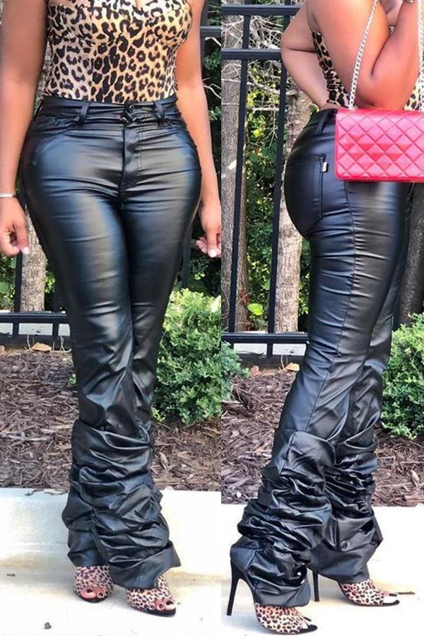 Lovely Casual Tassel Design Black Pants
