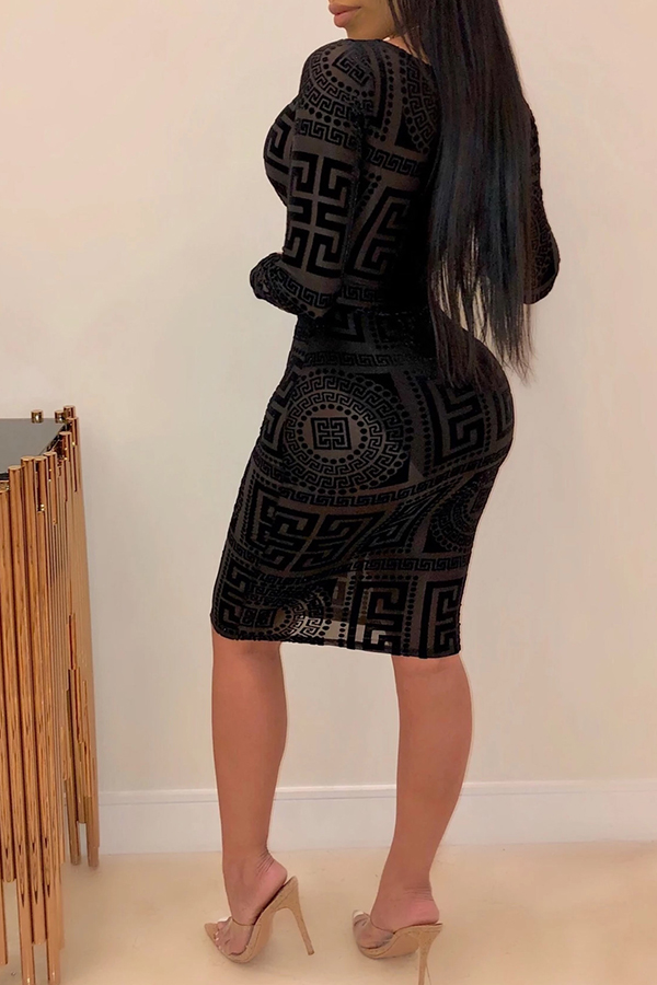 Lovely Sexy Hollow-out Black Knee Length Dress