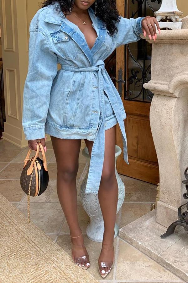 Lovely Leisure Turndown Collar Buttons Design Blue Jacket