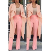 Lovely Trendy Lapel Light Pink Long Blazer