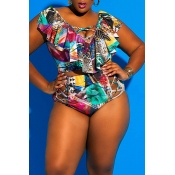 Lovely Printed Hollow-out Multicolor Plus Size Two