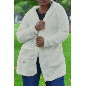 Lovely Euramerican Long Sleeves White Velvet Cardi