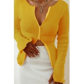 Lovely Casual Zipper Design Yellow Cardigans