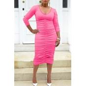 Lovely Trendy Ruffle Design Pink Mid Calf Dress