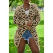 Lovely Euramerican Long Sleeves Leopard Cotton Ble