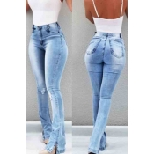 Lovely Trendy Skinny Slit Baby Blue Jeans