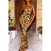 Lovely Trendy Flounce Design Leopard Printed One-p
