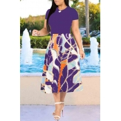 Lovely Casual Printed Purple Mid Calf Dress