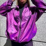Lovely Casual Zipper Design Purple Coat