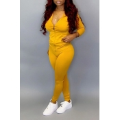 Lovely Casual Zipper Design Basic Yellow Plus Size Two-piece Pants Set