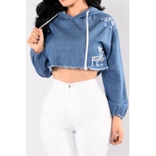 Lovely Trendy Crop Top Blue Blouse