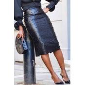 Lovely Work Nail Bead Design Black Knee Length She