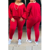 Lovely Casual O Neck Asymmetrical Red Plus Size Tw