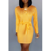 Lovely Casual Striped Yellow Mini Dress