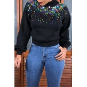 Lovely Trendy Turtleneck Sequined Decorative Black