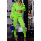 Lovely Street Mandarin Collar Green Two-piece Pants Set