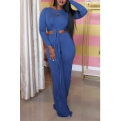 Lovely Casual Knot Design Blue Two-piece Pants Set