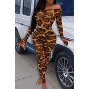 Lovely Sexy Skinny Leopard Printed One-piece Jumps