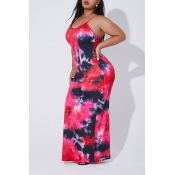 Lovely Casual Sleeveless Printed Red Floor Length