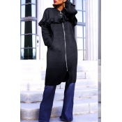 Lovely Casual Flounce Design Black Coat