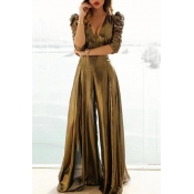 Lovely Party Loose Gold One-piece Jumpsuit