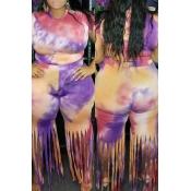Lovely Casual Tassel Design Purple Plus Size Two-p