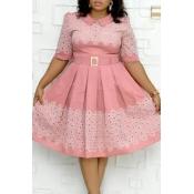 Lovely Casual Printed Dark Pink Knee Length Plus S