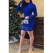 Lovely Sweet Half A turtleneck Nail Bead Design Royal Blue  Mini Dress