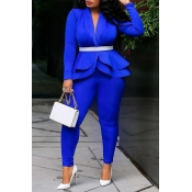 Lovely Work Deep V Neck Layered Blue Two-piece Pants Set