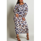 Lovely Chic Leopard Printed Ankle Length Plus Size