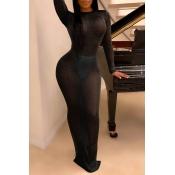 Lovely Sexy See-through Black Floor Length Dress(W