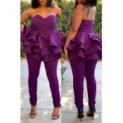 Lovely Sweet Flounce Design Purple Two-piece Pants
