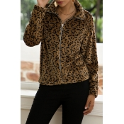 Lovely Casual Leopard Printed Coat