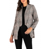 Lovely Casual Grid Printed Grey Blazer