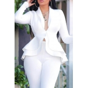 Lovely Work Deep V Neck Layered White Two-piece Pa