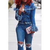 Lovely Denim Casual Regular Long Sleeve Coat&Jacke