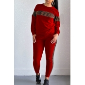 Lovely Casual Leopard Printed Red Two-piece Pants