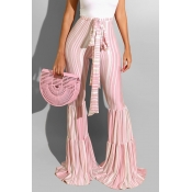 Lovely Sweet Striped Light Pink Pants