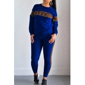 Lovely Casual Leopard Printed Blue Two-piece Pants