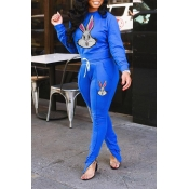 Lovely Casual Character Printed Blue Two-piece Pan