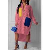 Lovely Casual Striped Red  Knee Length Dress