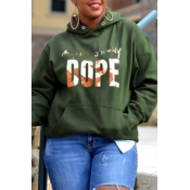 Lovely Casual Hooded Collar Letter Printed Olive H